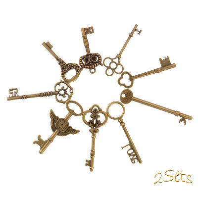 18x Mixed Antique Vintage Old Look Bronze Skeleton Retro Decorative Charm CR038