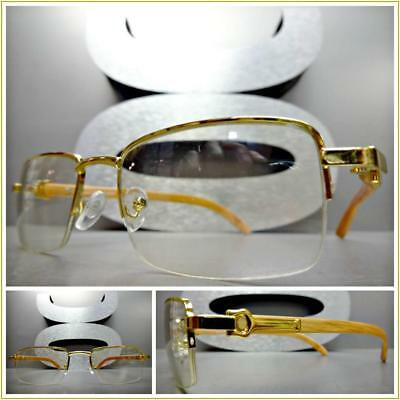 14904472320a Mens CLASSY SOPHISTICATED MODERN Clear Lens EYE GLASSES Gold   Wood Wooden  Frame
