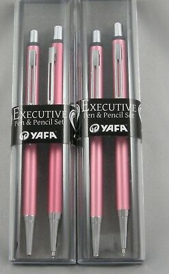 2 Brand New Executive Ballpoint Pen & .7mm Pencil Sets - Pink & Chrome