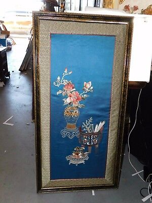 Large Rare Antique Chinese Blue Silk Embroidery Panel - Framed