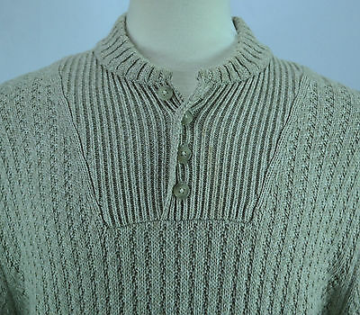 Mens Tan Eddie Bauer Thick Cable Knit Henley Sweater 100 Cotton