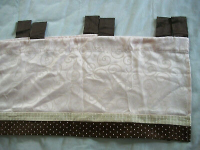"Lambs & Ivy Nursery Valance Pink Swirl Brown/Cream with Pink Dots 18"" x 60"""