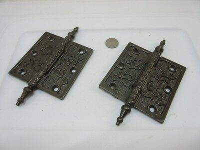 "Antique Cast Iron Steeple Tip Door Hinge 4"" x 4"" Lot of 2 Super Shape! 3 Hole"