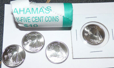 Bahamas 25 Cents 2007, Partial Mint Roll of 27 Coins w/ Sloop, Sailing Boat