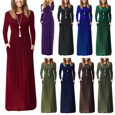 Women Casual Plain Maxi Dress Long Sleeve Loose Fit Full Length Gown with Pocket