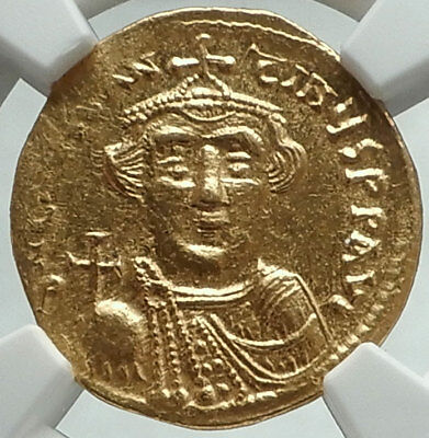 CONSTANS II Pagonatos 641AD Ancient GOLD Byzantine Solidus Coin NGC MS i66184