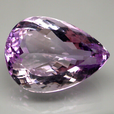 Flawless 34.50 Ct 25x18 Mm Pear Cut 100% Natural Top Nice Purple Amethyst Brazil