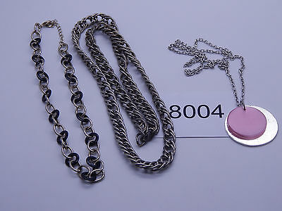Vintage Jewelry LOT OF 3 Necklaces SILVER TONE HEAVY 8004