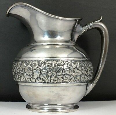 Antique Tiffany & Company Silver Soldered Floral Repousse Creamer Pitcher