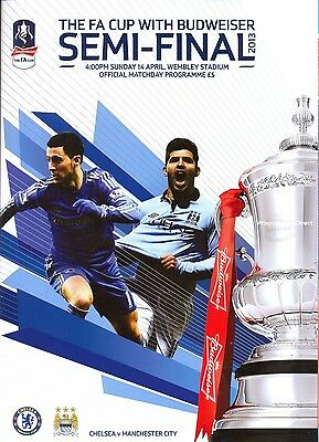 F A CUP SEMI FINAL 2013 CHELSEA v MAN CITY MINT PROGRAMME MANCHESTER