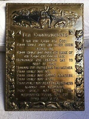 "Vintage Brass Ten Commandments England Plaque Embossed   8.5"" x 11"""