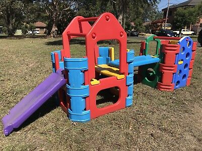 OUTDOOR DOUBLE SET PLAY GYM / CUBBY HOUSE - With WATER CONNECTION