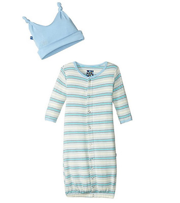 KICKEE PANTS (12-18 Month) Baby Boy Layette Gown Converter & Knot Hat Set *NWT*