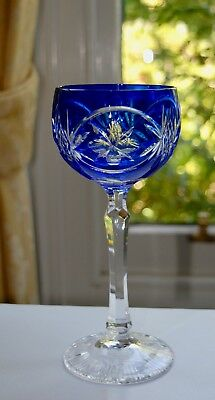 Stunning Blue to Clear Cut Crystal Wine Hock / Glass (19.4cm/225ml)