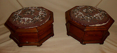 Anitque Pair of Footstools Wood and Bead Work Victorian