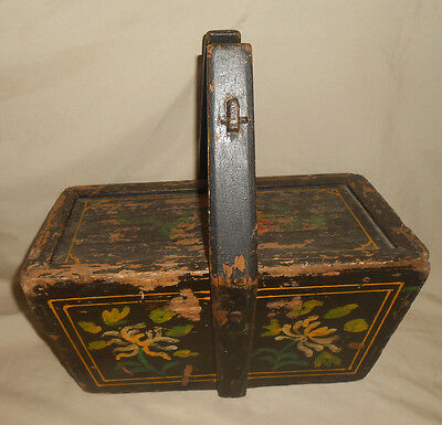 Antique Wood Basket Hand Painted Side Top