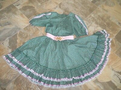 """Women's Green Calico print Square Dance Outfit Skirt 22"""" Blouse pink Belt"""