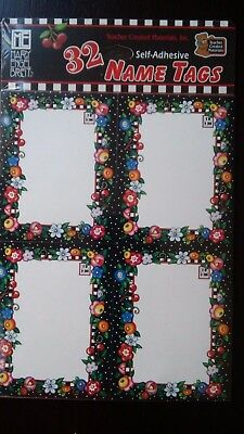 Mary Engelbreit Floral 32 Self-Adhesive Labels Name Tags, New