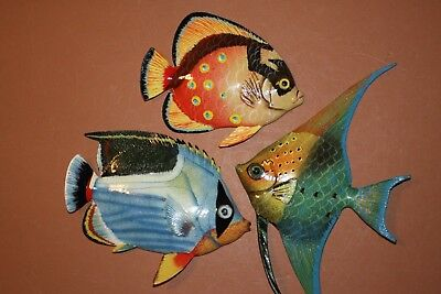 (3) Seafood Restaurant Fish decor, Coral Reef Tropical Fish Wall Art, Realstic