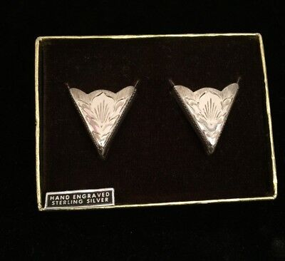 Sterling Silver Collar Tips, NIB, Hand Engraved. Fritch Brothers