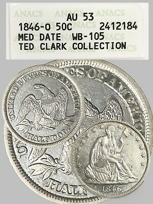 1846-O ~ 50C Silver SEATED Half Dollar !!! ANACS AU 53 ~ Medium Date ~ WB-105