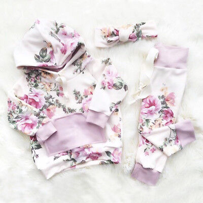 Fashion Newborn Baby Girls Floral Hooded Tops Pants 2Pcs Outfits Set Clothes