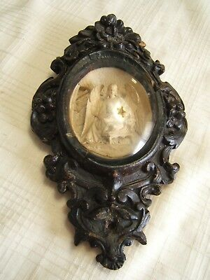 Carved Meerschaum Plaque Angel & Baby Jesus Carved Wood Frame Very Well Done