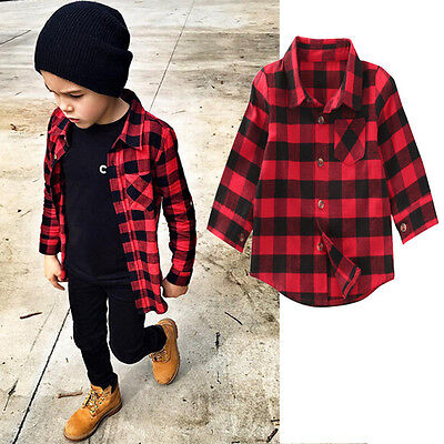 Baby Kids Boys Girls Long Sleeve Shirt Plaids Checks Tops Blouse Clothes Outfit
