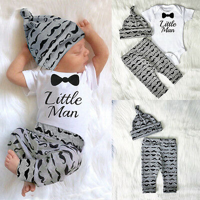 Newborn Baby Boy Infant Short Sleeve Romper + Long Pants +Hat Outfit Set Clothes