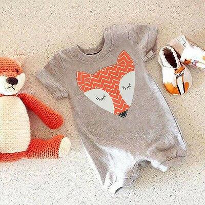 Unisex Newborn Baby Boys Girls Cute Fox Bodysuit Romper Jumpsuit Cotton Outfits