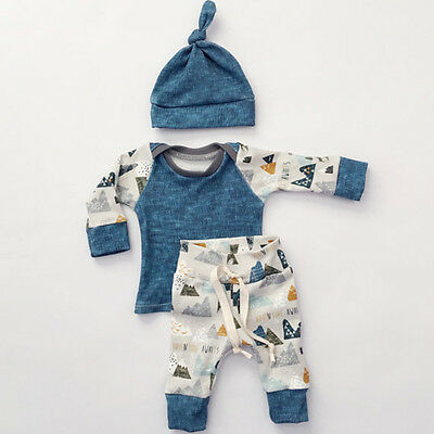 Newborn Infant Baby Girl Boy Tops T-shirt+Pants Hat 3pcs Outfits Set Clothes