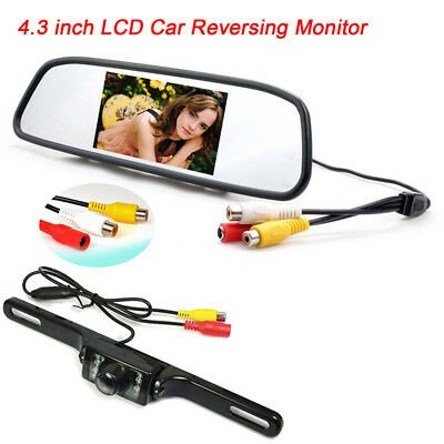 "4.3"" TFT LCD Monitor + Car Backup Reverse Camera Rear View System Night Vision"