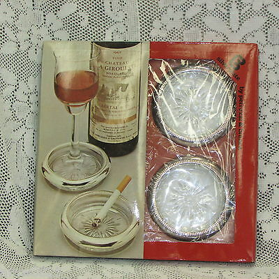 Silverplate & Glass Coaster Ashtray Set Of 4 Italy Petruzzi & Branca In Box