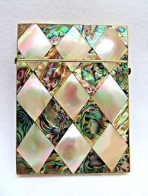 Antique Victorian Mother Of Pearl and Abalone Mosaic Calling Card Case  As Found