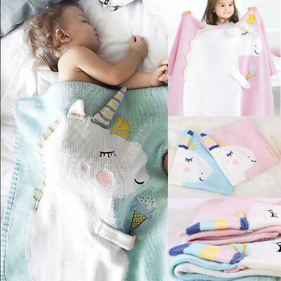Personalised Baby Blanket Luxury Embroidered Soft Fluffy Blue Pink Gift Unicorn