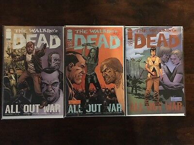 The Walking Dead All Out War Comic Lot Issues 115, 120, 124 Skybound Rick Maggie