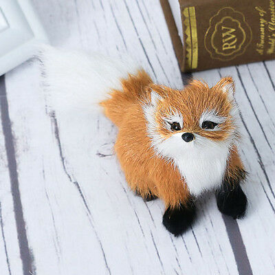 Simulation Fox Plush Toy Animal Doll Home Decor Fur Decoration Brown Gift New