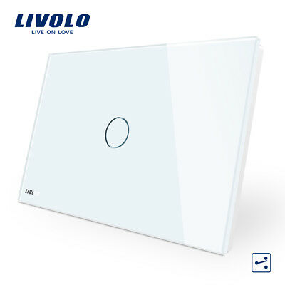LIVOLO Touch Wall Light Switch 2 way Crystal Glass Panel Switch White