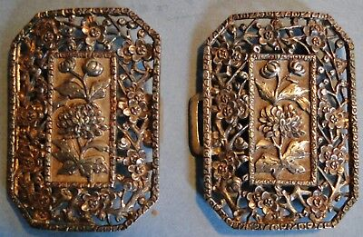 Antique Superb Chinese Export Silver 2-Part Belt Buckle Wang Hing Signed 1870