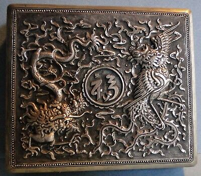 Ornate Antique Chinese Export Solid Silver Covered Box Dragon Phoenix 1850