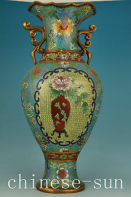 3.5KG  China Cloisonne Bronze Hand Painting Flower Plating Gold Flower Vase