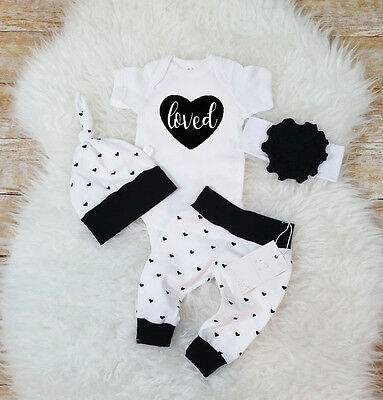 3Pcs Newborn Baby Girls Boys Clothes Cotton Romper Pants Leggings Casual Outfits
