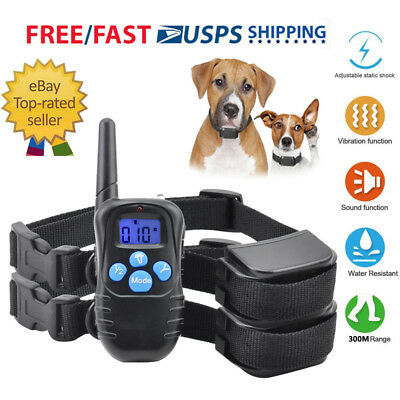Rechargeable Dog Shock Training Collar 330 Yards Remote Electric Pet Trainer LCD