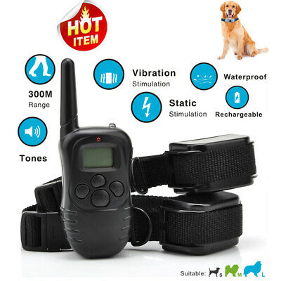 300m Pet Trainer Rechargeable Electric Dog Training Collar Shock With LCD Remote