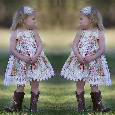 Toddler Kids Baby Girl Clothes Lace Floral Princess Dress Party Dresses Sundress