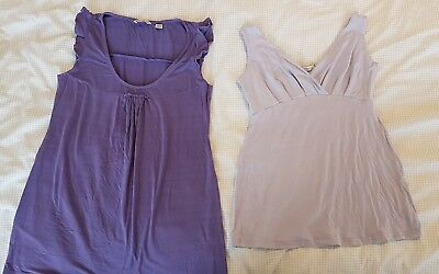 2 x Ripe maternity tops - purple & lilac - size Small /8-10 - great cond