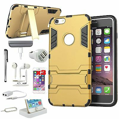 11 in 1 Accessory Bundle Gold Kickstand Case Cover Charger For iPhone 6 6S Plus