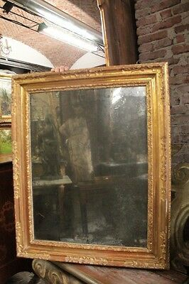 Antique Mirror Of 700 Wood Paint And Golden Period Eighteenth Century