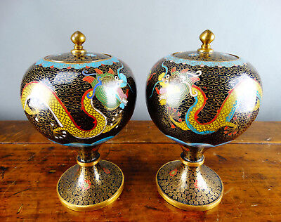 Pair of Chinese Cloisonne Vases Lidded Jar Enamel with Dragon Antique Republic