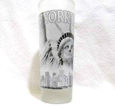 Tall Double Shot Glass New York Statue Of Liberty Collectible Souvenir Frosted
